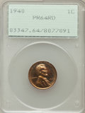 Proof Lincoln Cents: , 1940 1C PR64 Red PCGS. PCGS Population (556/808). NGC Census:(224/397). Mintage: 15,872. Numismedia Wsl. Price for problem...
