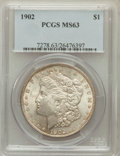 Morgan Dollars: , 1902 $1 MS63 PCGS. PCGS Population (1616/4504). NGC Census:(1078/3434). Mintage: 7,994,777. Numismedia Wsl. Price for prob...