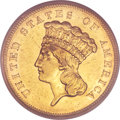 Three Dollar Gold Pieces, 1855-S $3 XF45 NGC....