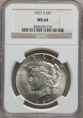 Peace Dollars: , 1927-S $1 MS64 NGC. NGC Census: (1061/75). PCGS Population(1320/66). Mintage: 866,000. Numismedia Wsl. Price for problem f...