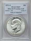 Eisenhower Dollars: , 1971-S $1 Silver MS67 PCGS. Ex: R N Lockey Collection. PCGSPopulation (382/2). NGC Census: (81/1). Mintage: 2,600,000. Num...