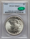 Peace Dollars: , 1925 $1 MS66+ PCGS. CAC. PCGS Population (1468/76). NGC Census:(1725/66). Mintage: 10,198,000. Numismedia Wsl. Price for p...