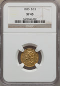 Classic Quarter Eagles: , 1835 $2 1/2 XF45 NGC. NGC Census: (27/233). PCGS Population(30/113). Mintage: 131,402. Numismedia Wsl. Price for problem f...