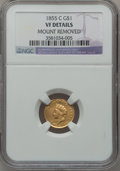 Gold Dollars: , 1855-C G$1 -- Mount Removed -- NGC Details. VF. NGC Census:(3/148). PCGS Population (4/118). Mintage: 9,803. Numismedia Ws...