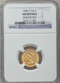 Liberty Quarter Eagles: , 1859-S $2 1/2 -- Scratches -- NGC Details. AU. NGC Census: (6/53).PCGS Population (3/28). Mintage: 15,200. Numismedia Wsl....