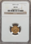 Gold Dollars: , 1859-S G$1 AU53 NGC. NGC Census: (16/78). PCGS Population (5/29).Mintage: 15,000. Numismedia Wsl. Price for problem free N...