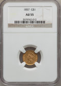 Gold Dollars: , 1857 G$1 AU55 NGC. NGC Census: (72/979). PCGS Population (128/534).Mintage: 774,789. Numismedia Wsl. Price for problem fre...