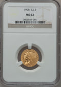 Indian Quarter Eagles: , 1908 $2 1/2 MS62 NGC. NGC Census: (2580/3385). PCGS Population(1239/3265). Mintage: 564,800. Numismedia Wsl. Price for pro...