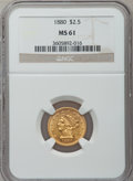 Liberty Quarter Eagles: , 1880 $2 1/2 MS61 NGC. NGC Census: (24/28). PCGS Population (7/32).Mintage: 2,996. Numismedia Wsl. Price for problem free N...