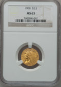 Indian Quarter Eagles: , 1908 $2 1/2 MS63 NGC. NGC Census: (1429/1952). PCGS Population(1422/1846). Mintage: 564,800. Numismedia Wsl. Price for pro...