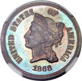 Patterns, 1868 5C Five Cents, Judd-634, Pollock-706, High R.7, PR63 Red and Brown NGC....