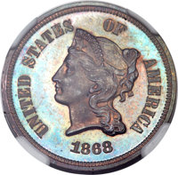 1868 5C Five Cents, Judd-634, Pollock-706, High R.7, PR63 Red and Brown NGC....(PCGS# 70852)
