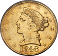 Liberty Half Eagles, 1848-D $5 AU50 PCGS. Variety 21-L (formerly Variety 18-M)....