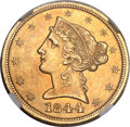 Liberty Half Eagles, 1844-D $5 AU58 NGC. Variety 12-G (formerly 11-H)....