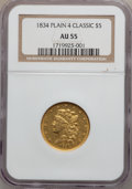 Classic Half Eagles: , 1834 $5 Plain 4 AU55 NGC. NGC Census: (362/686). PCGS Population(138/236). Mintage: 657,460. Numismedia Wsl. Price for pro...