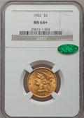 Liberty Half Eagles: , 1902 $5 MS64+ NGC. CAC. NGC Census: (109/17). PCGS Population(80/30). Mintage: 172,400. Numismedia Wsl. Price for problem ...
