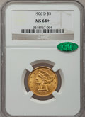 Liberty Half Eagles: , 1906-D $5 MS64+ NGC. CAC. NGC Census: (336/64). PCGS Population(265/50). Mintage: 320,000. Numismedia Wsl. Price for probl...