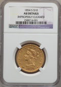 Liberty Eagles: , 1854-S $10 -- Improperly Cleaned -- NGC Details. AU. NGC Census:(68/206). PCGS Population (57/59). Mintage: 123,826. Numis...