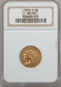 Indian Half Eagles: , 1916-S $5 AU58 NGC. NGC Census: (593/937). PCGS Population(207/779). Mintage: 240,000. Numismedia Wsl. Price for problem f...