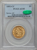 Liberty Half Eagles: , 1892-CC $5 AU55 PCGS. CAC. PCGS Population (78/130). NGC Census:(115/321). Mintage: 82,968. Numismedia Wsl. Price for prob...