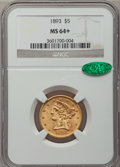 Liberty Half Eagles: , 1893 $5 MS64+ NGC. CAC. NGC Census: (414/68). PCGS Population(193/30). Mintage: 1,528,197. Numismedia Wsl. Price for probl...