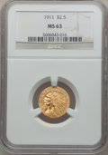 Indian Quarter Eagles: , 1911 $2 1/2 MS63 NGC. NGC Census: (1790/1429). PCGS Population(1119/760). Mintage: 704,000. Numismedia Wsl. Price for prob...