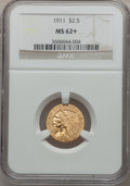 Indian Quarter Eagles: , 1911 $2 1/2 MS62+ NGC. NGC Census: (3791/3219). PCGS Population(1757/1879). Mintage: 704,000. Numismedia Wsl. Price for pr...
