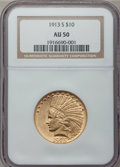 Indian Eagles: , 1913-S $10 AU50 NGC. NGC Census: (61/679). PCGS Population(63/442). Mintage: 66,000. Numismedia Wsl. Price for problem fre...