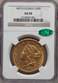Liberty Double Eagles: , 1873-S $20 Closed 3 AU58 NGC. CAC. NGC Census: (666/300). PCGSPopulation (154/192). Mintage: 1,040,600. Numismedia Wsl. Pr...