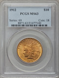 Indian Eagles: , 1912 $10 MS63 PCGS. PCGS Population (884/274). NGC Census:(906/443). Mintage: 405,083. Numismedia Wsl. Price for problem f...