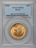 Indian Eagles: , 1908 $10 Motto MS62 PCGS. PCGS Population (1333/1013). NGC Census:(1359/747). Mintage: 341,300. Numismedia Wsl. Price for ...