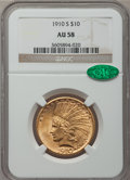 Indian Eagles: , 1910-S $10 AU58 NGC. CAC. NGC Census: (604/458). PCGS Population(380/609). Mintage: 811,000. Numismedia Wsl. Price for pro...