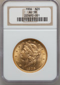 Liberty Double Eagles: , 1906 $20 AU58 NGC. NGC Census: (120/492). PCGS Population (98/596).Mintage: 69,500. Numismedia Wsl. Price for problem free...