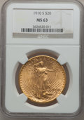 Saint-Gaudens Double Eagles: , 1910-S $20 MS63 NGC. NGC Census: (1077/620). PCGS Population(1174/1244). Mintage: 2,128,250. Numismedia Wsl. Price for pro...