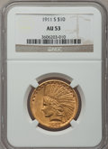 Indian Eagles: , 1911-S $10 AU53 NGC. NGC Census: (22/248). PCGS Population(17/242). Mintage: 51,000. Numismedia Wsl. Price for problem fre...