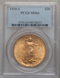 Saint-Gaudens Double Eagles: , 1910-S $20 MS64 PCGS. PCGS Population (1054/190). NGC Census:(545/75). Mintage: 2,128,250. Numismedia Wsl. Price for probl...