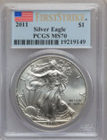 Modern Bullion Coins, 2011 $1 One Ounce Silver American Eagle, First Strike MS70 PCGS. PCGS Population (38357). NGC Census: (50902)....