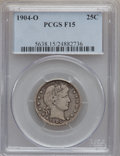Barber Quarters: , 1904-O 25C Fine 15 PCGS. PCGS Population (11/145). NGC Census:(3/98). Mintage: 2,456,000. Numismedia Wsl. Price for proble...