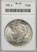 Peace Dollars: , 1935 $1 MS60 ANACS. NGC Census: (23/5470). PCGS Population(47/6593). Mintage: 1,576,000. Numismedia Wsl. Price for problem...