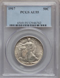 Walking Liberty Half Dollars: , 1917 50C AU55 PCGS. PCGS Population (113/2329). NGC Census:(30/1905). Mintage: 12,292,000. Numismedia Wsl. Price for probl...