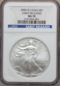 Modern Bullion Coins, 2008-W $1 One Ounce Silver Eagle Early Releases MS70 NGC. NGCCensus: (10552). PCGS Population (948). Numismedia Wsl. Pric...
