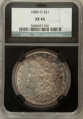 Morgan Dollars, 1886-O $1 XF45 NGC. 25th Anniversary Holder. NGC Census: (178/4250). PCGS Population (224/4243). Mintage: 10,710,000. Numis...