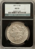 Morgan Dollars, 1897-O $1 AU53 NGC. 25th Anniversary Holder. NGC Census:(577/4269). PCGS Population (428/3204). Mintage: 4,004,000.Numism...
