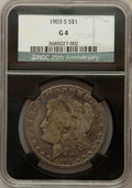 Morgan Dollars, 1903-S $1 Good 4 NGC. 25th Anniversary Holder. NGC Census:(62/1776). PCGS Population (45/2536). Mintage: 1,241,000. Numism...