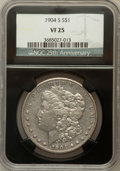 Morgan Dollars, 1904-S $1 VF25 NGC. 25th Anniversary Holder. NGC Census: (60/1499).PCGS Population (80/2376). Mintage: 2,304,000. Numismed...