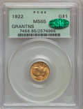 Commemorative Gold, 1922 G$1 Grant No Star MS65 PCGS. CAC....