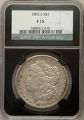 Morgan Dollars, 1892-S $1 Fine 15 NGC. 25th Anniversary Holder. NGC Census:(93/2743). PCGS Population (78/3173). Mintage: 1,200,000. Numis...