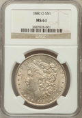 Morgan Dollars: , 1880-O $1 MS61 NGC. NGC Census: (1162/4706). PCGS Population(969/5852). Mintage: 5,305,000. Numismedia Wsl. Price for prob...