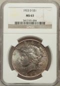 Peace Dollars: , 1923-D $1 MS63 NGC. NGC Census: (912/1259). PCGS Population(1488/1821). Mintage: 6,811,000. Numismedia Wsl. Price for prob...