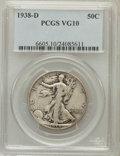 Walking Liberty Half Dollars: , 1938-D 50C VG10 PCGS. PCGS Population (200/4012). NGC Census:(61/2030). Mintage: 491,600. Numismedia Wsl. Price for proble...